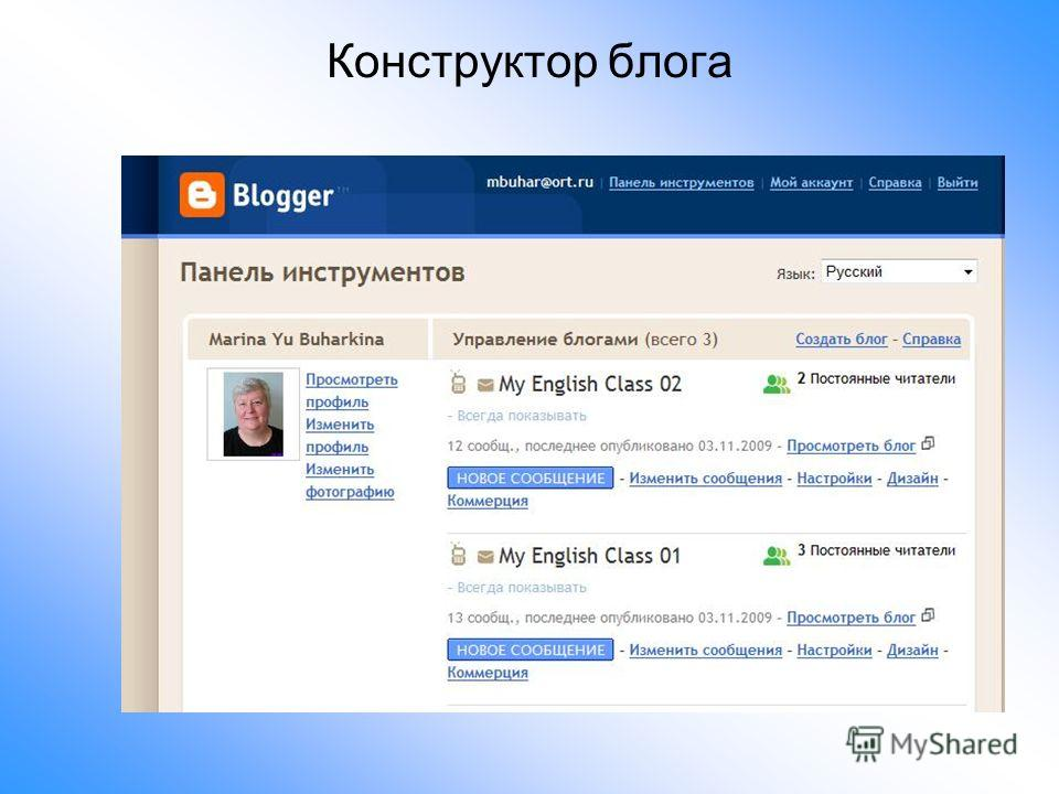 Конструктор блога