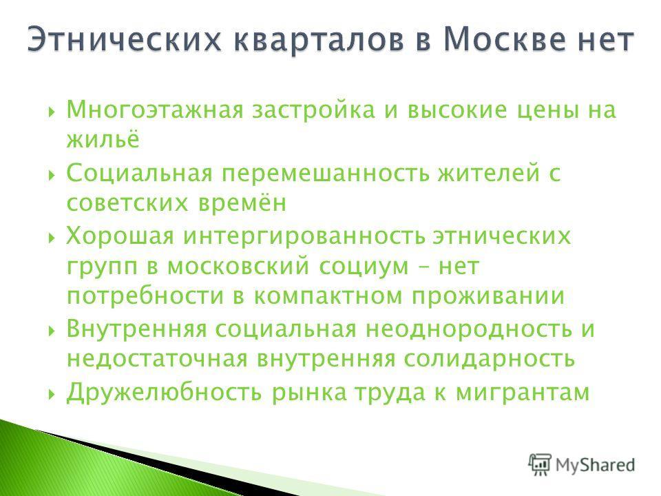 Многоэтажная застройка и высокие цены на жильё Социальная перемешанность жителей с советских времён Хорошая интергированность этнических групп в московский социум – нет потребности в компактном проживании Внутренняя социальная неоднородность и недост