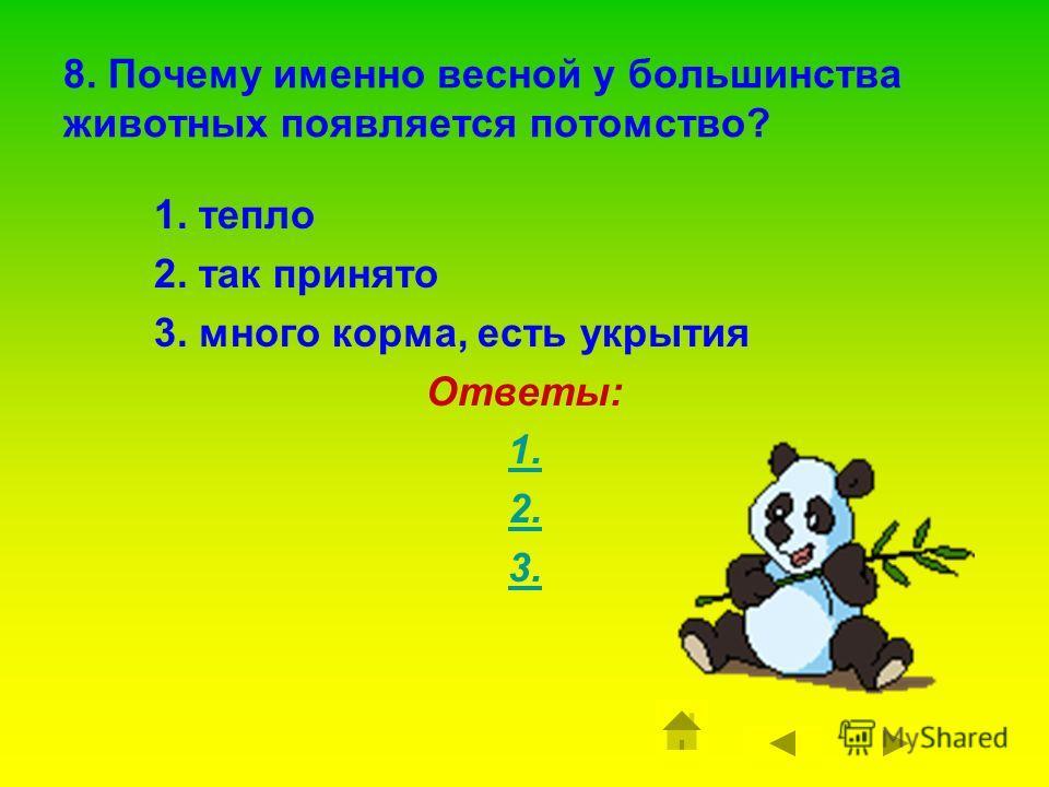 7. Какое животное появляется весной из норы уже с детёнышами? 1. белка 2. медведь 3. лиса 4. ёж Ответы: 1. 2. 3. 4.