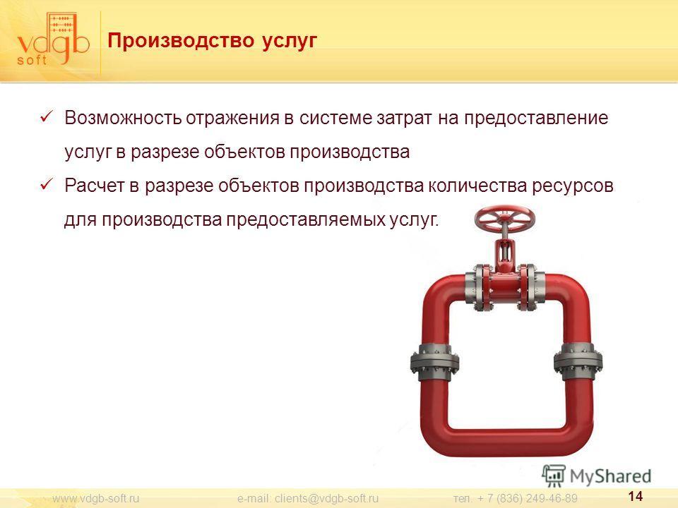 Производство услуг Возможность отражения в системе затрат на предоставление услуг в разрезе объектов производства Расчет в разрезе объектов производства количества ресурсов для производства предоставляемых услуг. 14 www.vdgb-soft.ru e-mail: clients@v