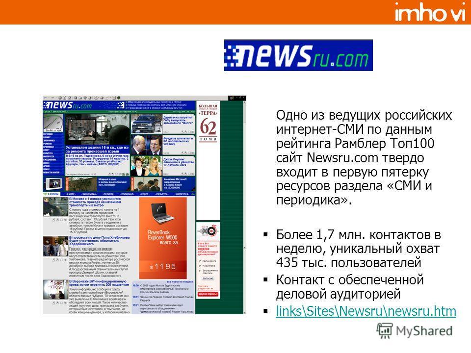 Одно из ведущих российских интернет-СМИ по данным рейтинга Рамблер Топ100 сайт Newsru.com твердо входит в первую пятерку ресурсов раздела «СМИ и периодика». Более 1,7 млн. контактов в неделю, уникальный охват 435 тыс. пользователей Контакт с обеспече