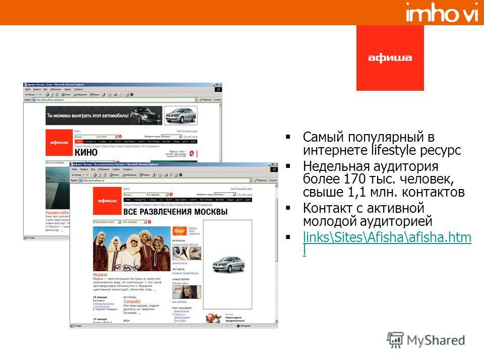 Самый популярный в интернете lifestyle ресурс Недельная аудитория более 170 тыс. человек, свыше 1,1 млн. контактов Контакт с активной молодой аудиторией links\Sites\Afisha\afisha.htm l links\Sites\Afisha\afisha.htm l