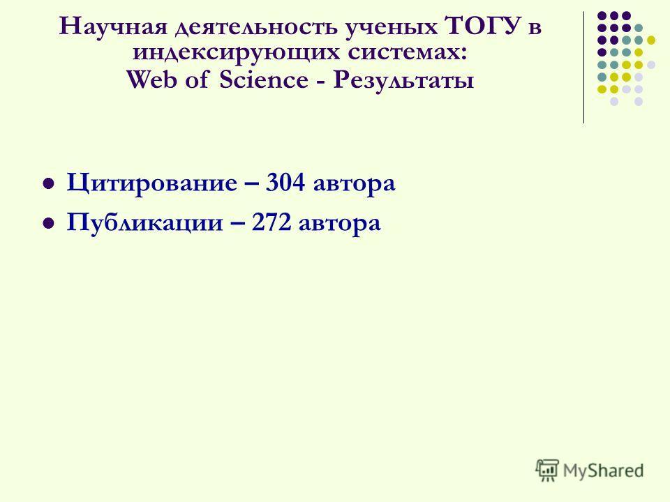Цитирование – 304 автора Публикации – 272 автора Научная деятельность ученых ТОГУ в индексирующих системах: Web of Science - Результаты