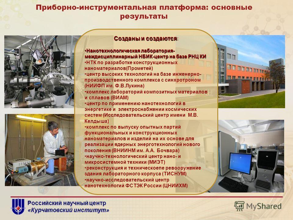 Российский научный центр «Курчатовский институт» Приборно-инструментальная платформа: основные результаты Созданы и создаются Созданы и создаются : Нанотехнологическая лаборатория- междисциплинарный НБИК-центр на базе РНЦ КИНанотехнологическая лабора