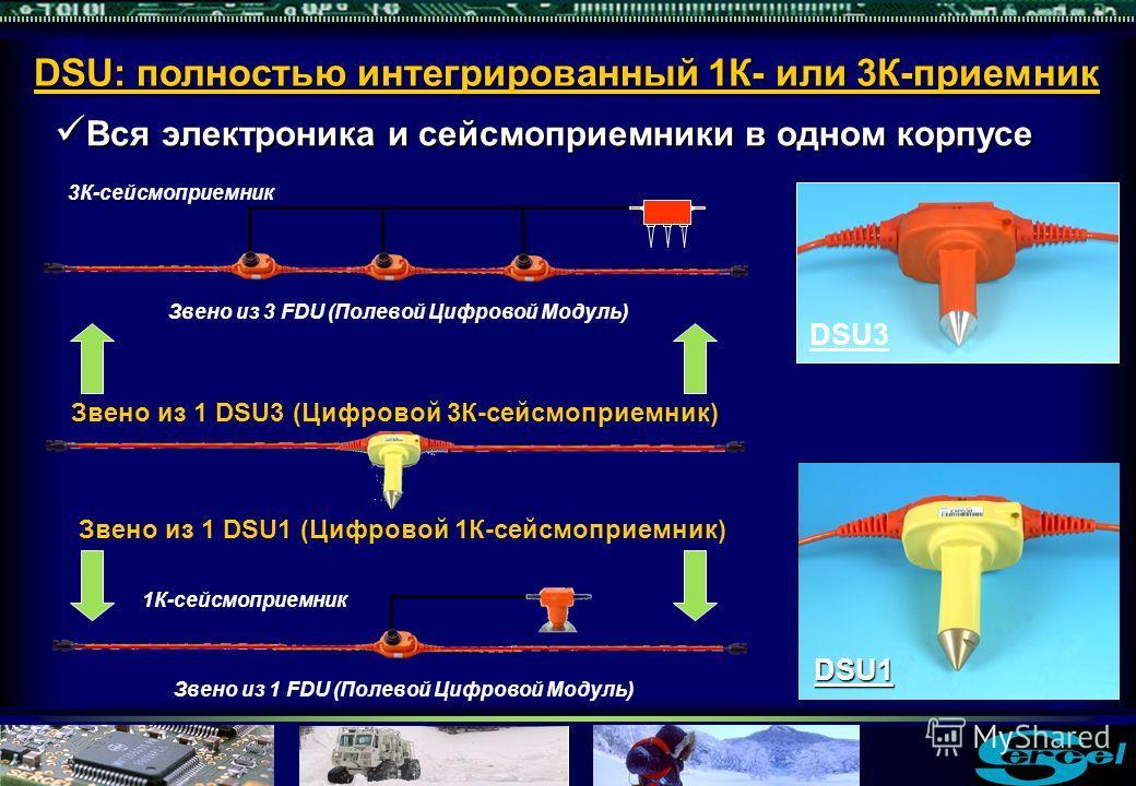 DSU: полностью интегрированный 1К- или 3К-приемник Вся электроника и сейсмоприемники в одном корпусе Вся электроника и сейсмоприемники в одном корпусе 3К-сейсмоприемник Звено из 3 FDU (Полевой Цифровой Модуль) 1К-сейсмоприемник Звено из 1 FDU (Полево