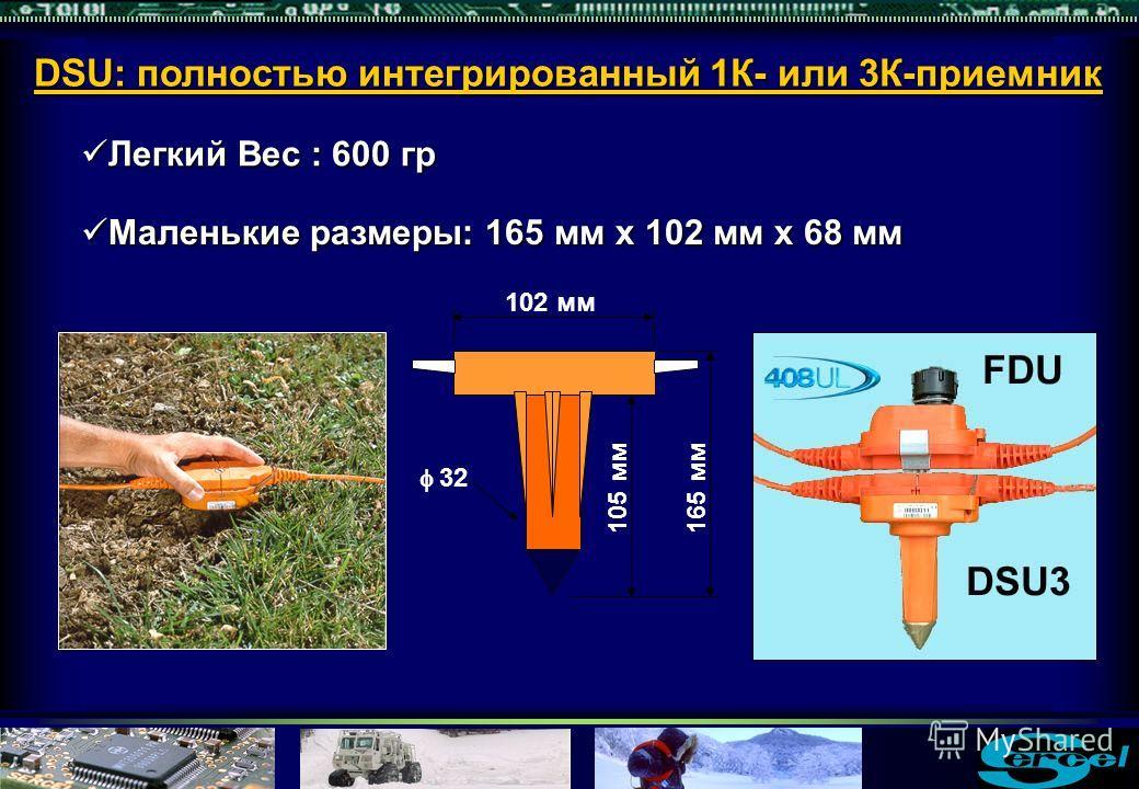 Легкий Вес : 600 гр Легкий Вес : 600 гр 165 мм 102 мм 32 105 мм Маленькие размеры: 165 мм x 102 мм x 68 мм Маленькие размеры: 165 мм x 102 мм x 68 мм DSU: полностью интегрированный 1К- или 3К-приемник