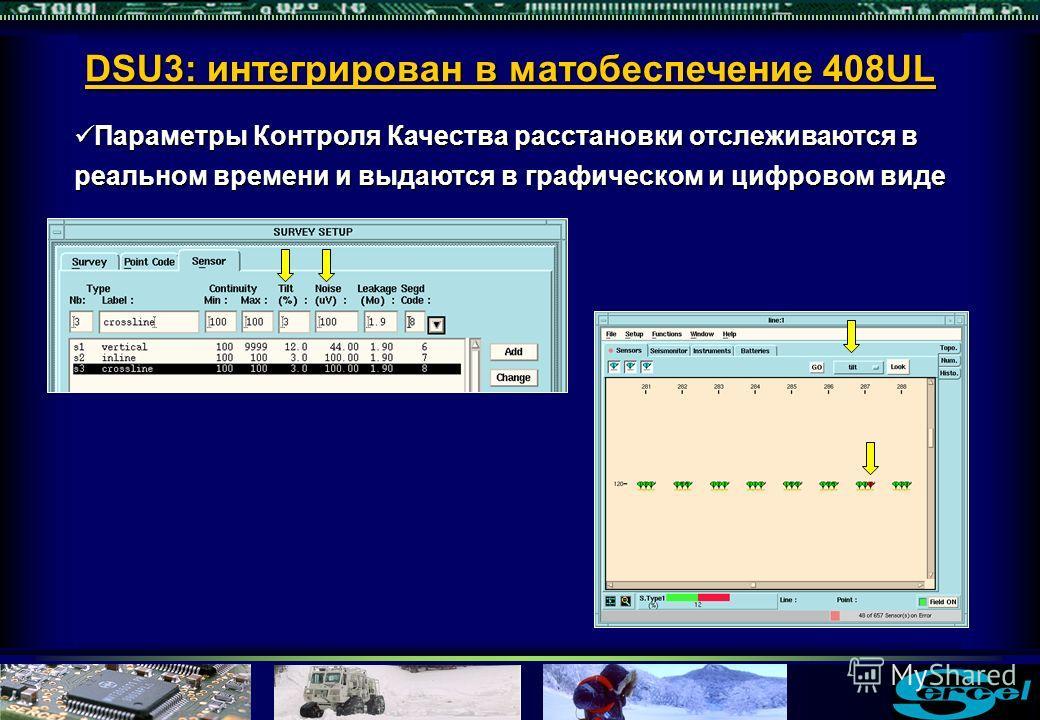 Параметры Контроля Качества расстановки отслеживаются в реальном времени и выдаются в графическом и цифровом виде Параметры Контроля Качества расстановки отслеживаются в реальном времени и выдаются в графическом и цифровом виде DSU3: интегрирован в м
