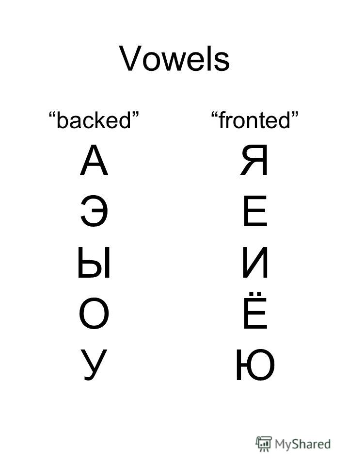Vowels backed А Э Ы О У fronted Я Е И Ё Ю