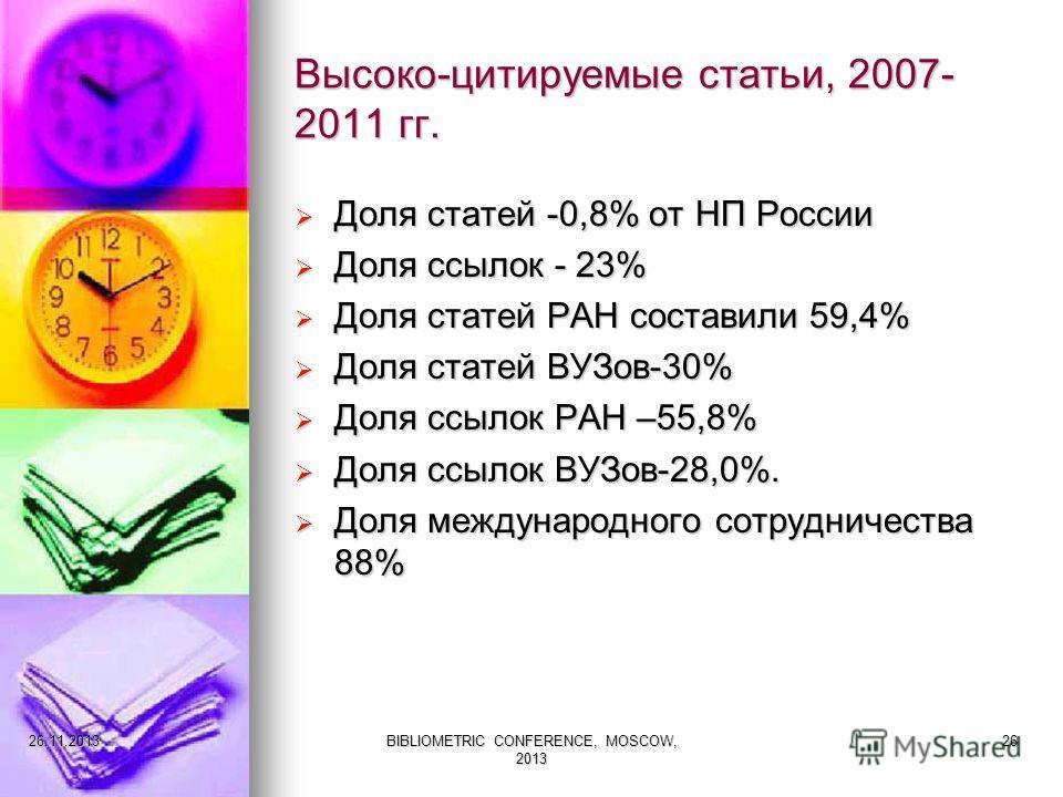 Высоко-цитируемые статьи, 2007- 2011 гг. Доля статей -0,8% от НП России Доля статей -0,8% от НП России Доля ссылок - 23% Доля ссылок - 23% Доля статей РАН составили 59,4% Доля статей РАН составили 59,4% Доля статей ВУЗов-30% Доля статей ВУЗов-30% Дол