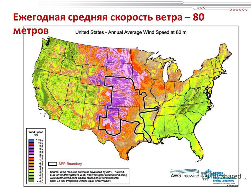 4 Ежегодная средняя скорость ветра – 80 метров 4