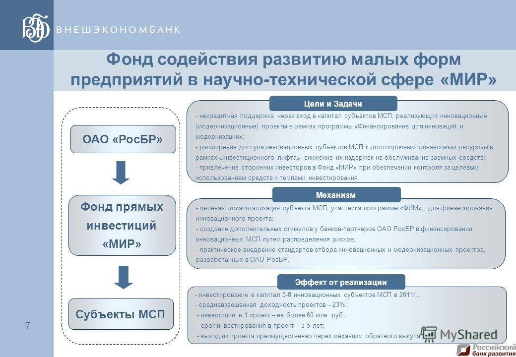 7 7 ОАО «РосБР» Фонд прямых инвестиций «МИР» Субъекты МСП - некредитная поддержка через вход в капитал субъектов МСП, реализующих инновационные (модернизационные) проекты в рамках программы «Финансирование для инноваций и модернизации»; - расширение