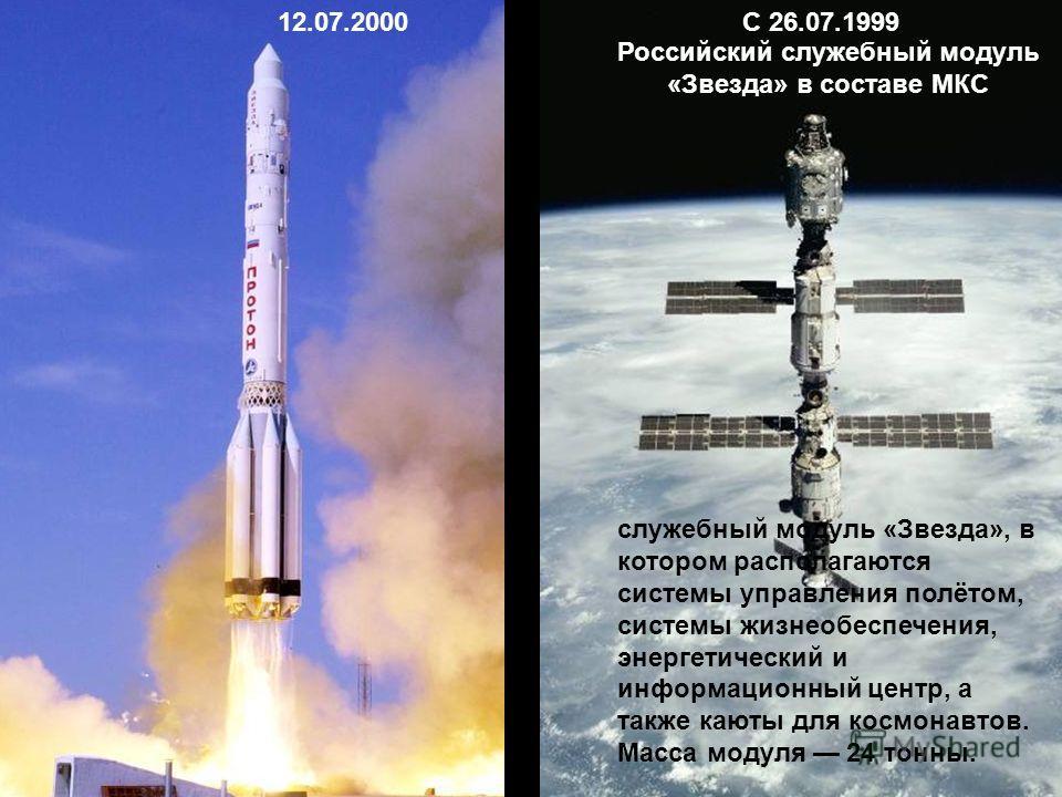 12.07.2000 Российский служебный модуль «Звезда» в составе МКС С 26.07.1999 служебный модуль «Звезда», в котором располагаются системы управления полётом, системы жизнеобеспечения, энергетический и информационный центр, а также каюты для космонавтов.