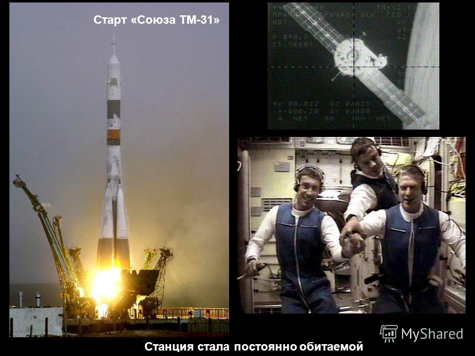 Старт «Союза ТМ-31» Станция стала постоянно обитаемой