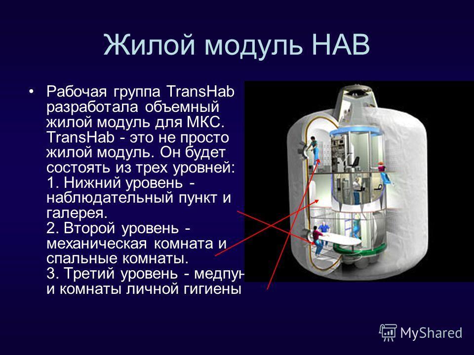 Жилой модуль HAB Рабочая группа TransHab разработала объемный жилой модуль для МКС. TransHab - это не просто жилой модуль. Он будет состоять из трех уровней: 1. Нижний уровень - наблюдательный пункт и галерея. 2. Второй уровень - механическая комната