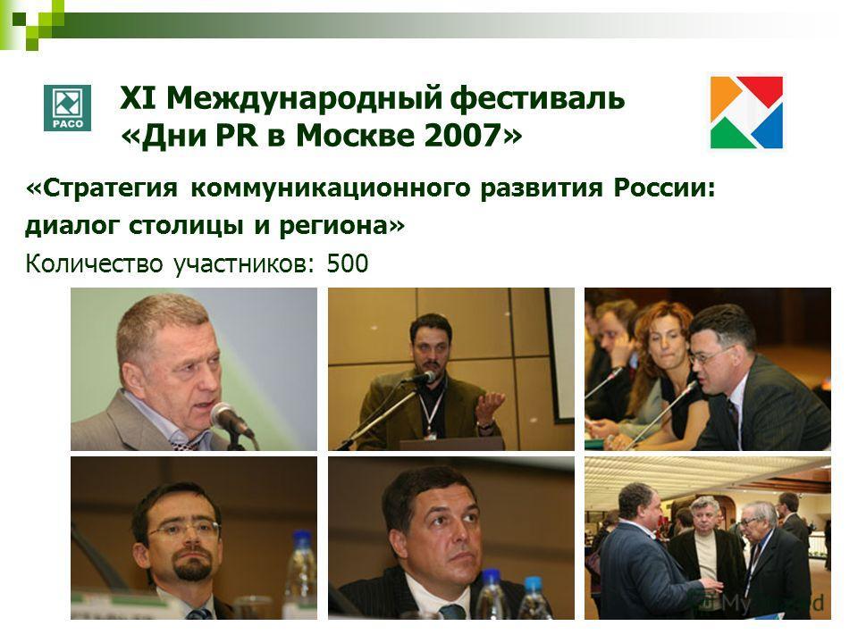 XI Международный фестиваль «Дни PR в Москве 2007» «Стратегия коммуникационного развития России: диалог столицы и региона» Количество участников: 500