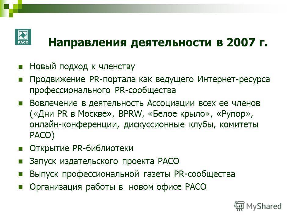 Направления деятельности в 2007 г. Новый подход к членству Продвижение PR-портала как ведущего Интернет-ресурса профессионального PR-сообщества Вовлечение в деятельность Ассоциации всех ее членов («Дни PR в Москве», BPRW, «Белое крыло», «Рупор», онла