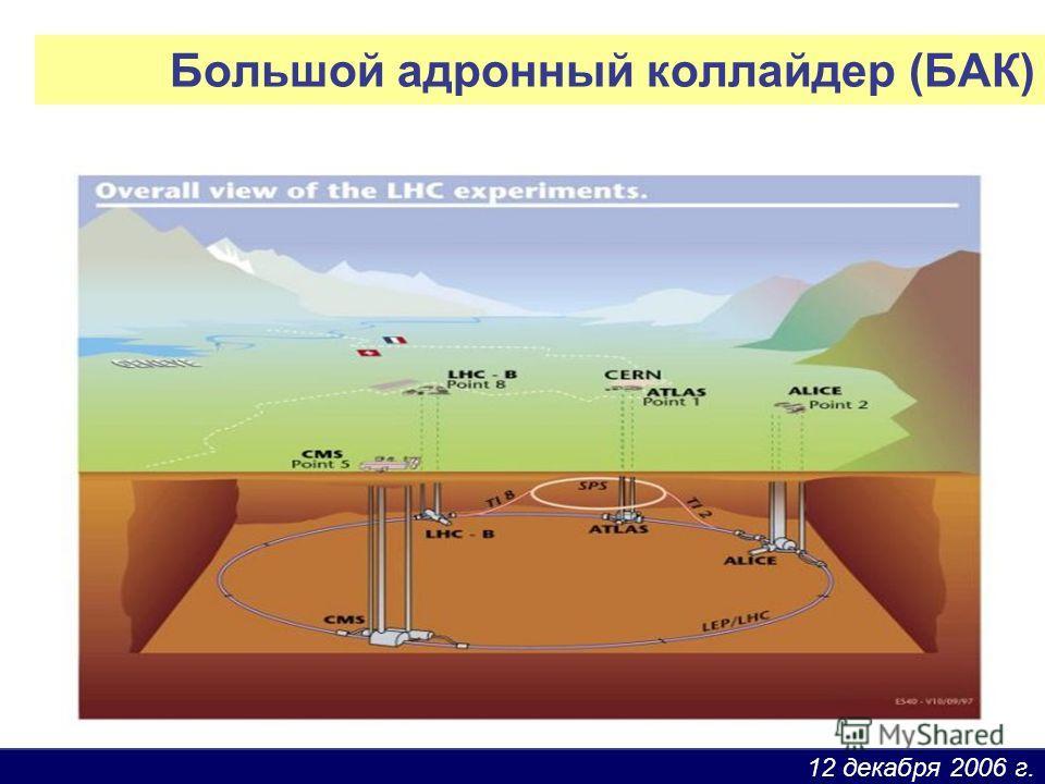 12 декабря 2006 г. Большой адронный коллайдер (БАК)
