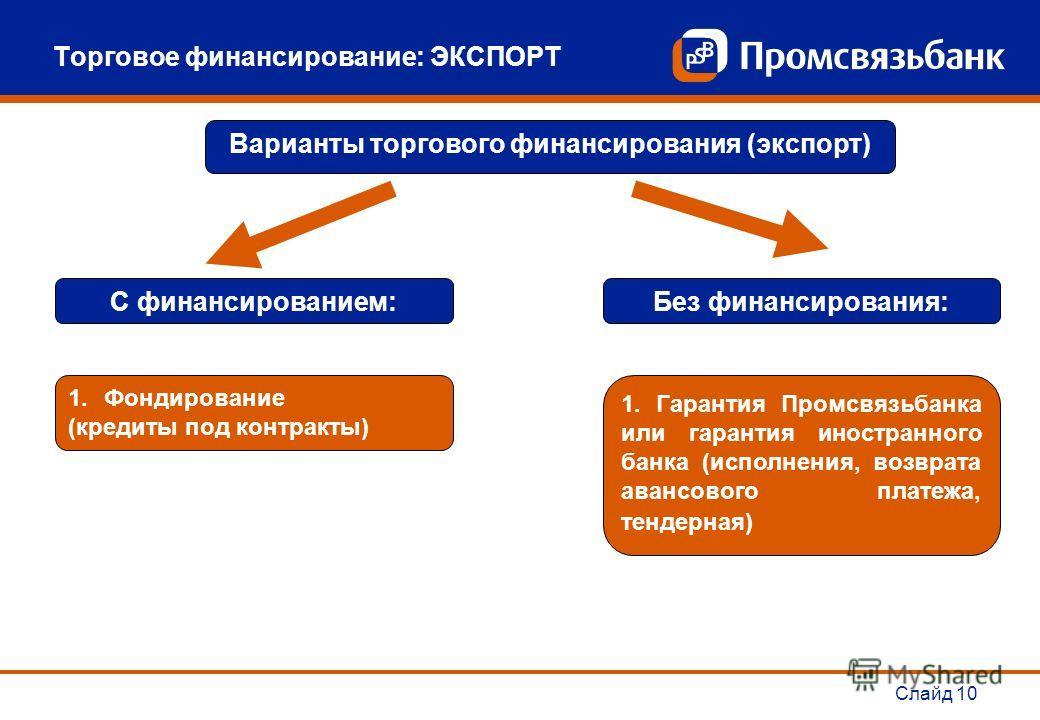 Слайд 10 Торговое финансирование: ЭКСПОРТ Варианты торгового финансирования (экспорт) С финансированием: 1.Фондирование (кредиты под контракты) Без финансирования: 1. Гарантия Промсвязьбанка или гарантия иностранного банка (исполнения, возврата аванс