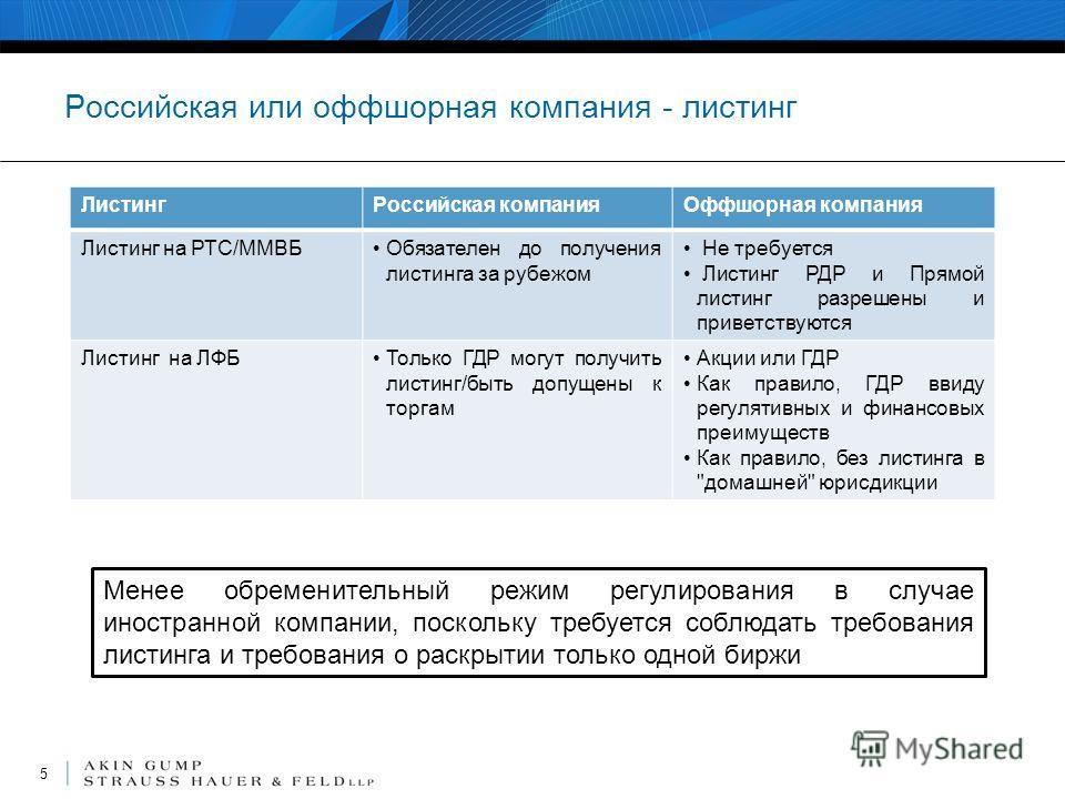 Российская или оффшорная компания - листинг ЛистингРоссийская компанияОффшорная компания Листинг на РТС/ММВБОбязателен до получения листинга за рубежом Не требуется Листинг РДР и Прямой листинг разрешены и приветствуются Листинг на ЛФБТолько ГДР могу