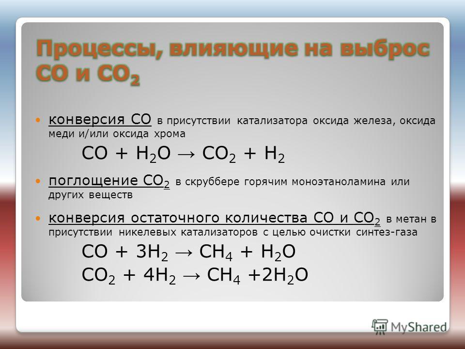 конверсия СО в присутствии катализатора оксида железа, оксида меди и/или оксида хрома CO + H 2 O CO 2 + H 2 поглощение CO 2 в скруббере горячим моноэтаноламина или других веществ конверсия остаточного количества CO и CO 2 в метан в присутствии никеле