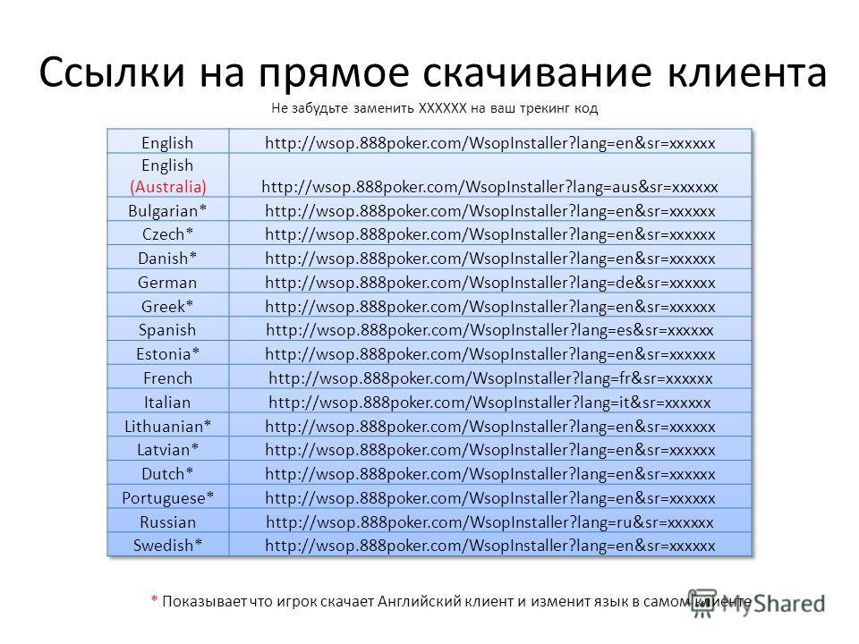 Ссылки на прямое скачивание клиента Не забудьте заменить ХХХХХХ на ваш трекинг код * Показывает что игрок скачает Английский клиент и изменит язык в самом клиенте