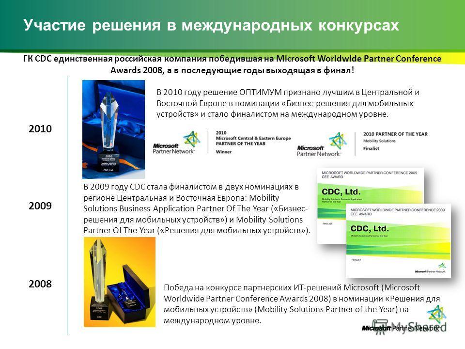 Участие решения в международных конкурсах Победа на конкурсе партнерских ИТ-решений Microsoft (Microsoft Worldwide Partner Conference Awards 2008) в номинации «Решения для мобильных устройств» (Mobility Solutions Partner of the Year) на международном