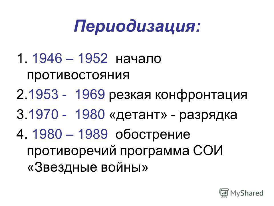 Периодизация: 1. 1946 – 1952 начало противостояния 2.1953 - 1969 резкая конфронтация 3.1970 - 1980 «детант» - разрядка 4. 1980 – 1989 обострение противоречий программа СОИ «Звездные войны»