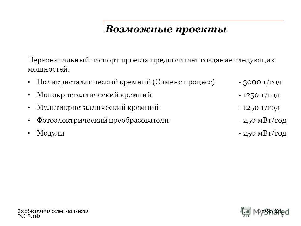 PwC Russia Возможные проекты Первоначальный паспорт проекта предполагает создание следующих мощностей: Поликристаллический кремний (Сименс процесс) - 3000 т/год Монокристаллический кремний - 1250 т/год Мультикристаллический кремний- 1250 т/год Фотоэл