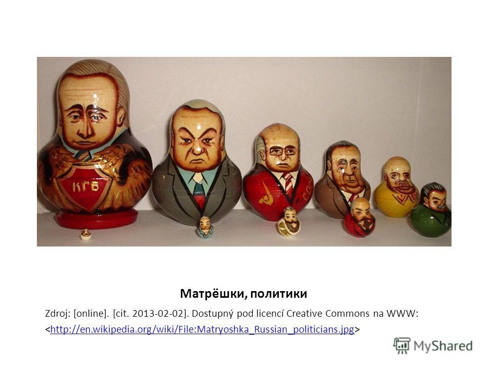 Матрёшки, политики Zdroj: [online]. [cit. 2013-02-02]. Dostupný pod licencí Creative Commons na WWW: http://en.wikipedia.org/wiki/File:Matryoshka_Russian_politicians.jpg