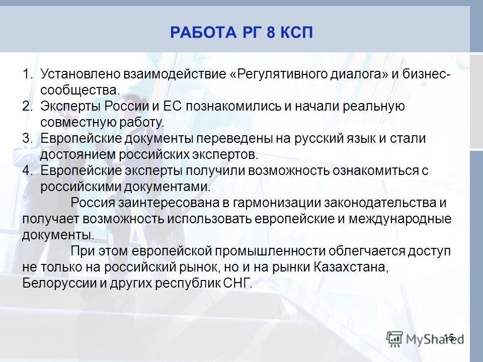 РАБОТА РГ 8 КСП 15 1.Установлено взаимодействие «Регулятивного диалога» и бизнес- сообщества. 2.Эксперты России и ЕС познакомились и начали реальную совместную работу. 3.Европейские документы переведены на русский язык и стали достоянием российских э