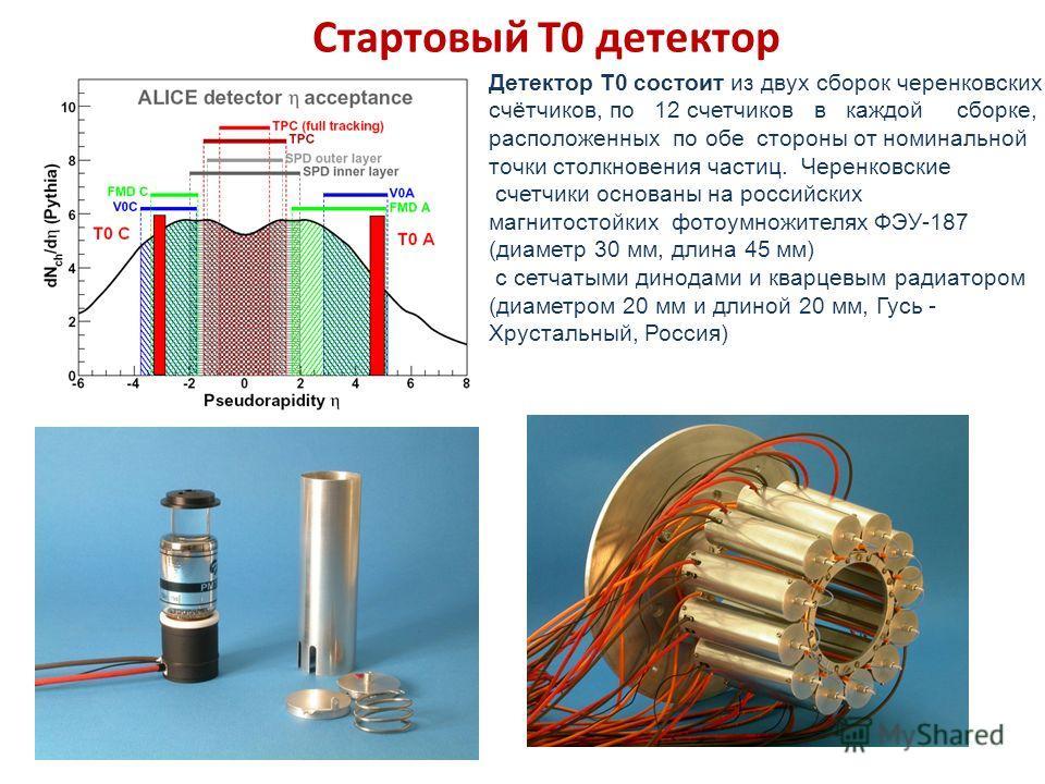 T0-C Детектор Т0 состоит из двух сборок черенковских счётчиков, по 12 счетчиков в каждой сборке, расположенных по обе стороны от номинальной точки столкновения частиц. Черенковские счетчики основаны на российских магнитостойких фотоумножителях ФЭУ-18