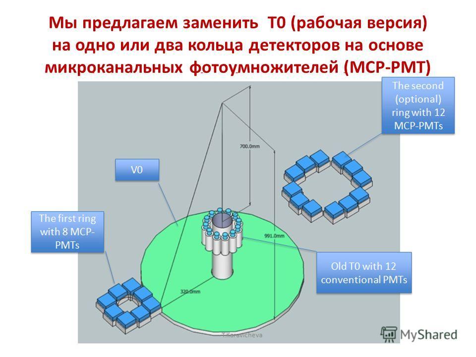 Мы предлагаем заменить Т0 (рабочая версия) на одно или два кольца детекторов на основе микроканальных фотоумножителей (MCP-PMT)