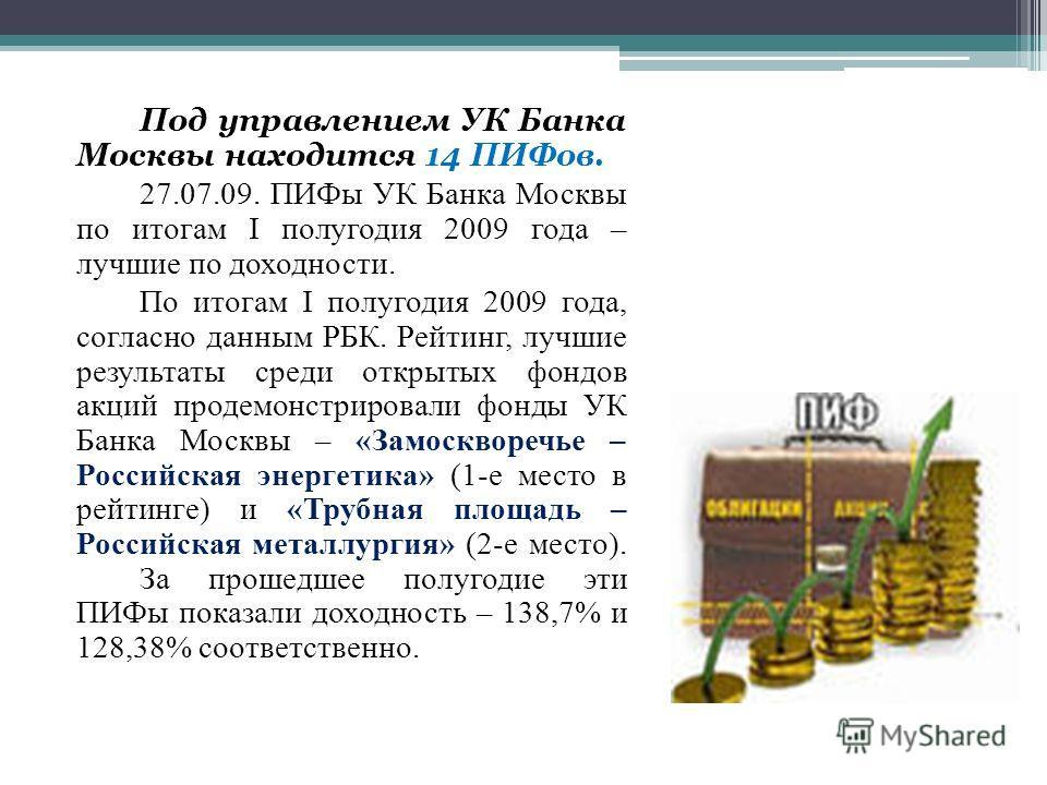 Под управлением УК Банка Москвы находится 14 ПИФов. 27.07.09. ПИФы УК Банка Москвы по итогам I полугодия 2009 года – лучшие по доходности. По итогам I полугодия 2009 года, согласно данным РБК. Рейтинг, лучшие результаты среди открытых фондов акций пр