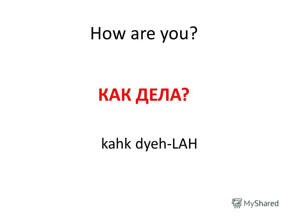 How are you? КАК ДЕЛА? kahk dyeh-LAH