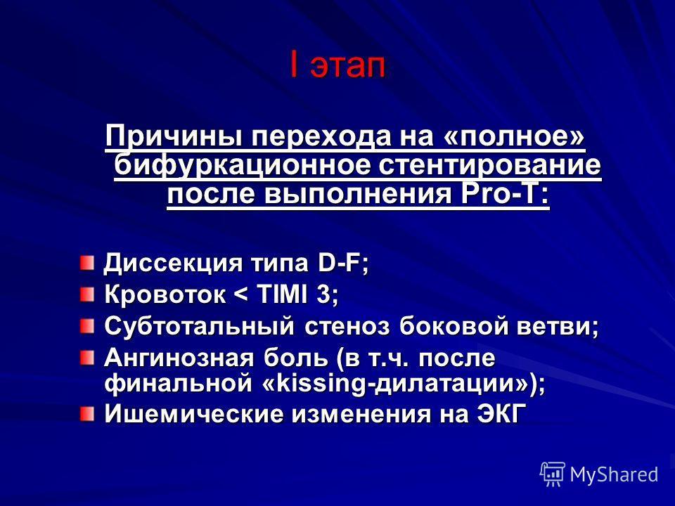 I этап Причины перехода на «полное» бифуркационное стентирование после выполнения Pro-T: Диссекция типа D-F; Кровоток < ТIMI 3; Субтотальный стеноз боковой ветви; Ангинозная боль (в т.ч. после финальной «kissing-дилатации»); Ишемические изменения на