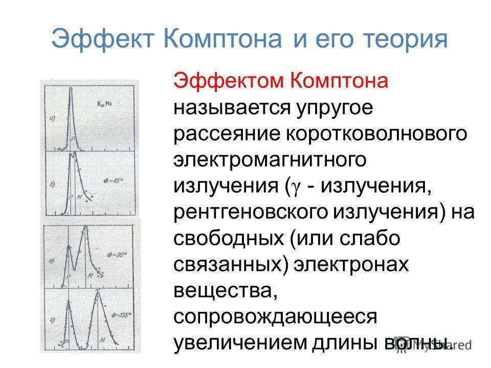 Эффект Комптона и его теория Эффектом Комптона называется упругое рассеяние коротковолнового электромагнитного излучения ( γ - излучения, рентгеновского излучения) на свободных (или слабо связанных) электронах вещества, сопровождающееся увеличением д