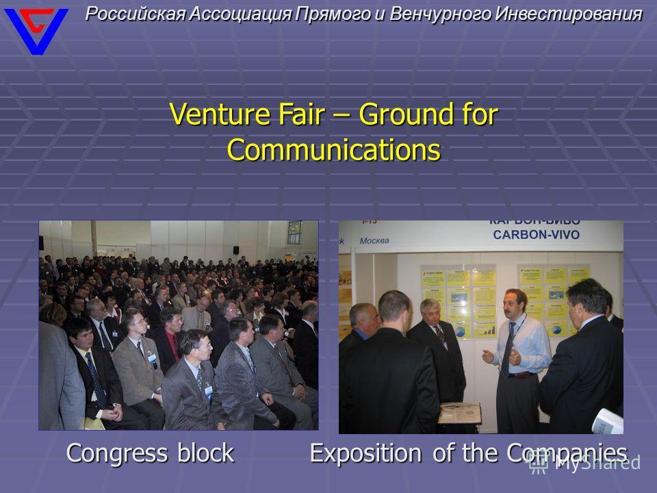 Российская Ассоциация Прямого и Венчурного Инвестирования Venture Fair – Ground for Communications Exposition of the Companies Congress block