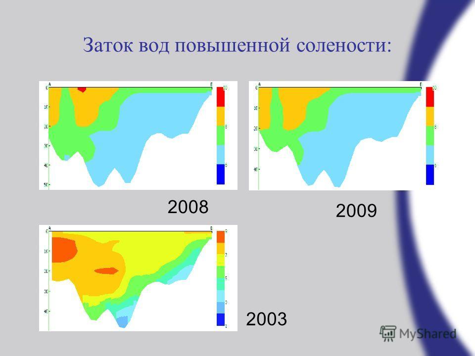 Заток вод повышенной солености: 2008 2009 2003