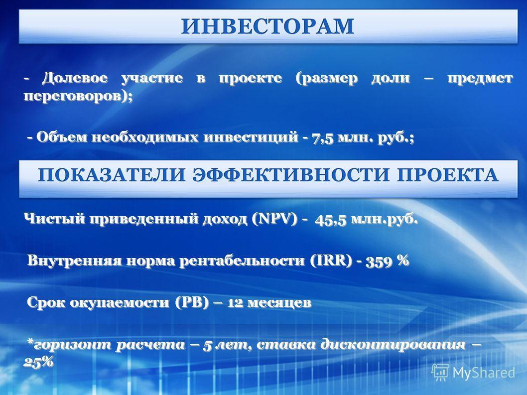 - Долевое участие в проекте (размер доли – предмет переговоров); - Объем необходимых инвестиций - 7,5 млн. руб.; - Объем необходимых инвестиций - 7,5 млн. руб.; Чистый приведенный доход (NPV) - 45,5 млн.руб. Внутренняя норма рентабельности (IRR) - 35