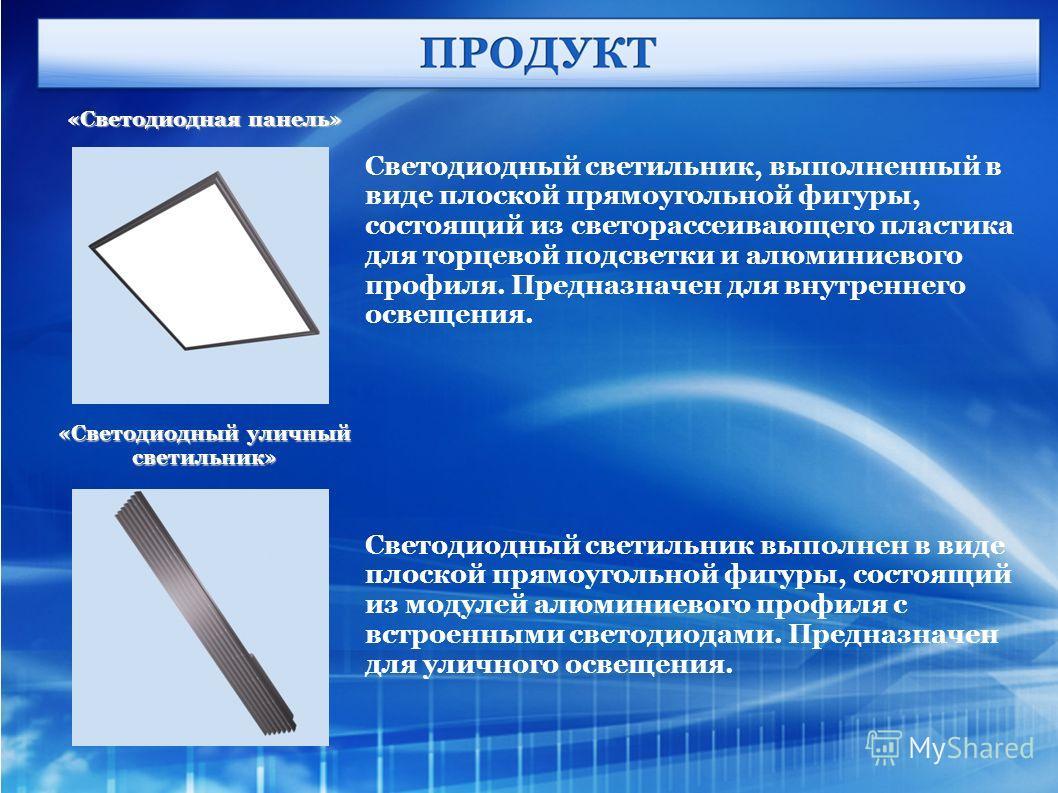 «Светодиодная панель» «Светодиодный уличный светильник» Светодиодный светильник, выполненный в виде плоской прямоугольной фигуры, состоящий из светорассеивающего пластика для торцевой подсветки и алюминиевого профиля. Предназначен для внутреннего осв