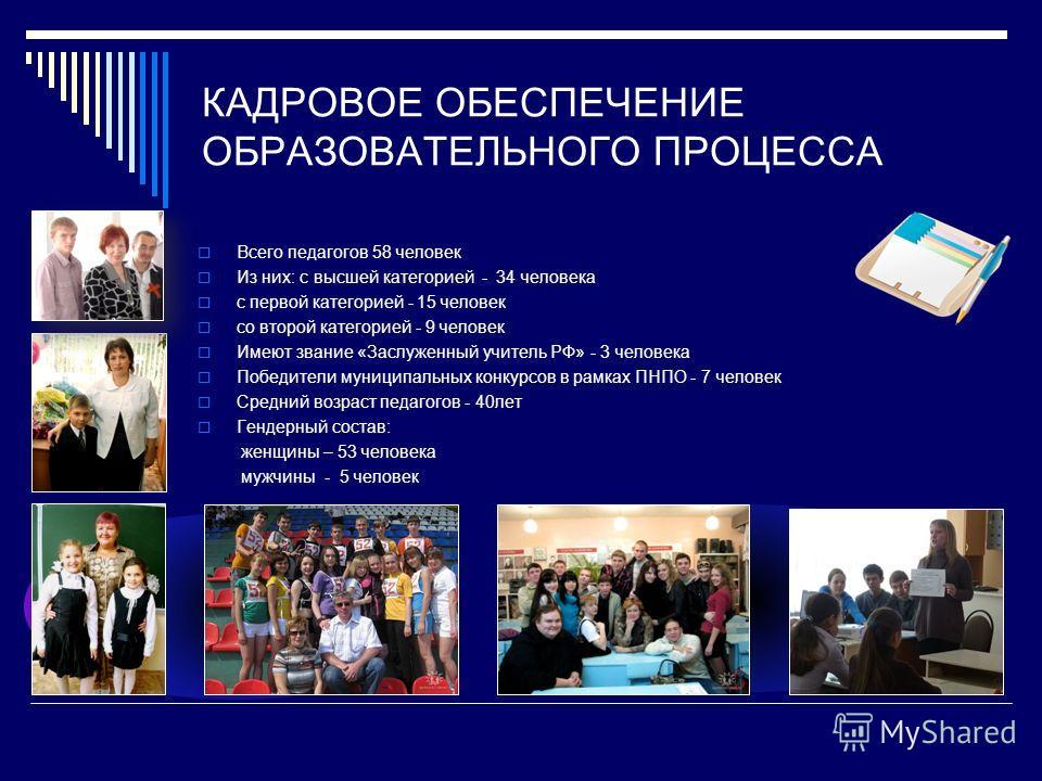 КАДРОВОЕ ОБЕСПЕЧЕНИЕ ОБРАЗОВАТЕЛЬНОГО ПРОЦЕССА Всего педагогов 58 человек Из них: с высшей категорией - 34 человека с первой категорией - 15 человек со второй категорией - 9 человек Имеют звание «Заслуженный учитель РФ» - 3 человека Победители муници