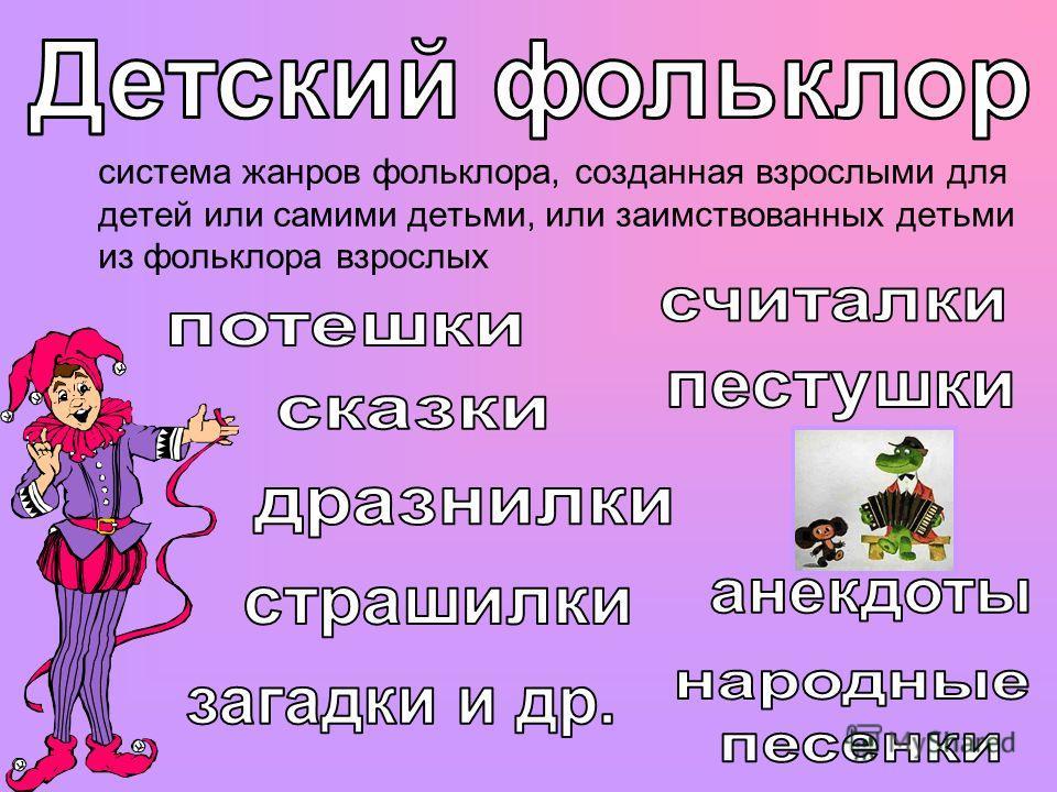система жанров фольклора, созданная взрослыми для детей или самими детьми, или заимствованных детьми из фольклора взрослых