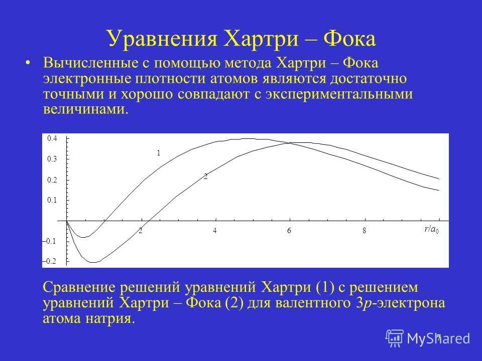 7 Уравнения Хартри – Фока Вычисленные с помощью метода Хартри – Фока электронные плотности атомов являются достаточно точными и хорошо совпадают с экспериментальными величинами. 2468 –0.2 –0.1 0.1 0.2 0.3 0.4 r/a0r/a0 1 2 Сравнение решений уравнений