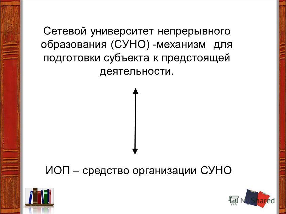 Сетевой университет непрерывного образования (СУНО) -механизм для подготовки субъекта к предстоящей деятельности. ИОП – средство организации СУНО