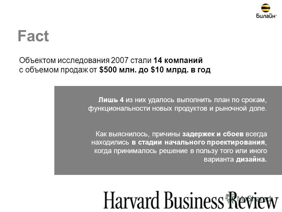 26 Объектом исследования 2007 стали 14 компаний с объемом продаж от $500 млн. до $10 млрд. в год Лишь 4 из них удалось выполнить план по срокам, функциональности новых продуктов и рыночной доле. Как выяснилось, причины задержек и сбоев всегда находил