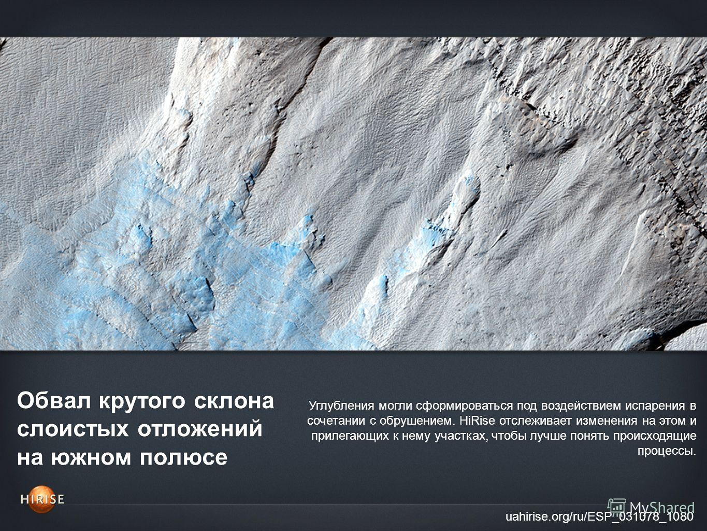 Обвал крутого склона слоистых отложений на южном полюсе uahirise.org/ru/ESP_031078_1080 Углубления могли сформироваться под воздействием испарения в сочетании с обрушением. HiRise отслеживает изменения на этом и прилегающих к нему участках, чтобы луч