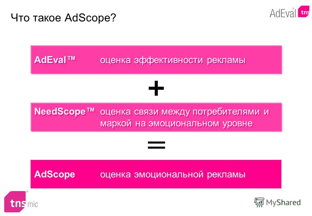 Что такое AdScope? AdEval оценка эффективности рекламы + NeedScope оценка связи между потребителями и маркой на эмоциональном уровне = AdScope оценка эмоциональной рекламы
