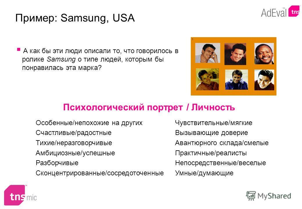 Психологический портрет / Личность Пример: Samsung, USA А как бы эти люди описали то, что говорилось в ролике Samsung о типе людей, которым бы понравилась эта марка? Особенные/непохожие на других Счастливые/радостные Тихие/неразговорчивые Амбициозные