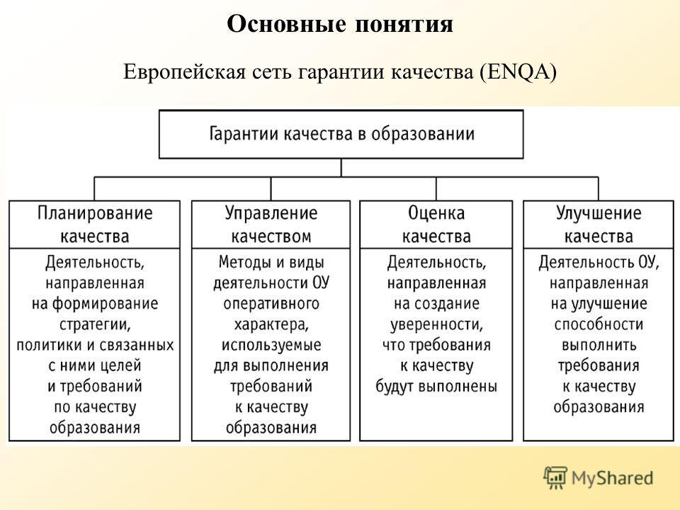 Европейская сеть гарантии качества (ENQA) Основные понятия
