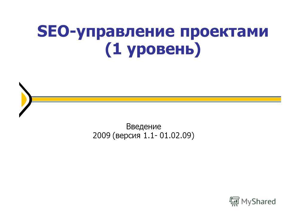 SEO-управление проектами (1 уровень) Введение 2009 (версия 1.1- 01.02.09)